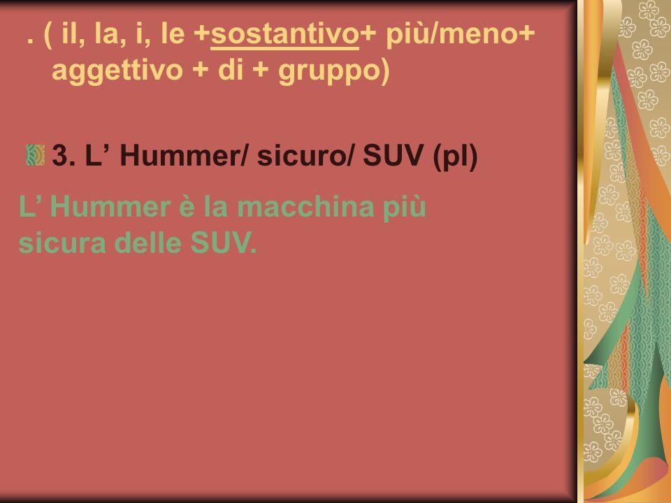 ( il, la, i, le +sostantivo+ più/meno+ aggettivo + di + gruppo) 3.