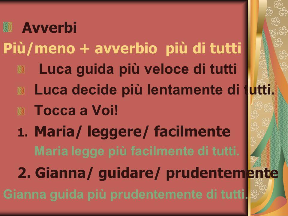 Avverbi Più/meno + avverbio più di tutti Luca guida più veloce di tutti Luca decide più lentamente di tutti.
