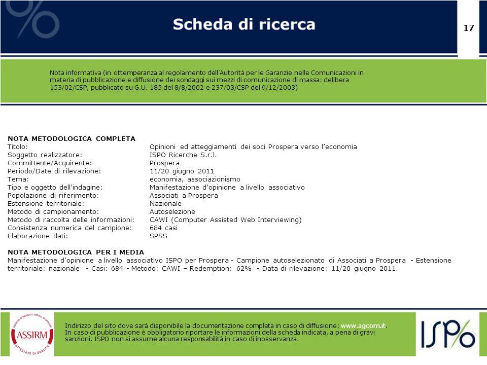17 Nota informativa (in ottemperanza al regolamento dell'Autorità per le Garanzie nelle Comunicazioni in materia di pubblicazione e diffusione dei son