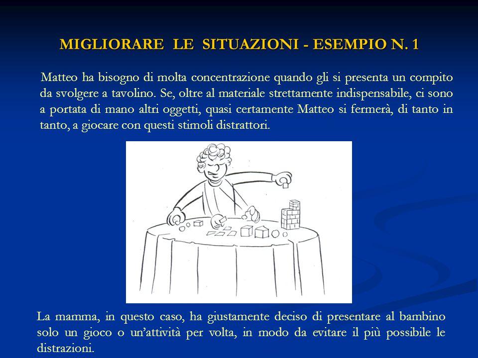 MIGLIORARE LE SITUAZIONI - ESEMPIO N. 1 Matteo ha bisogno di molta concentrazione quando gli si presenta un compito da svolgere a tavolino. Se, oltre