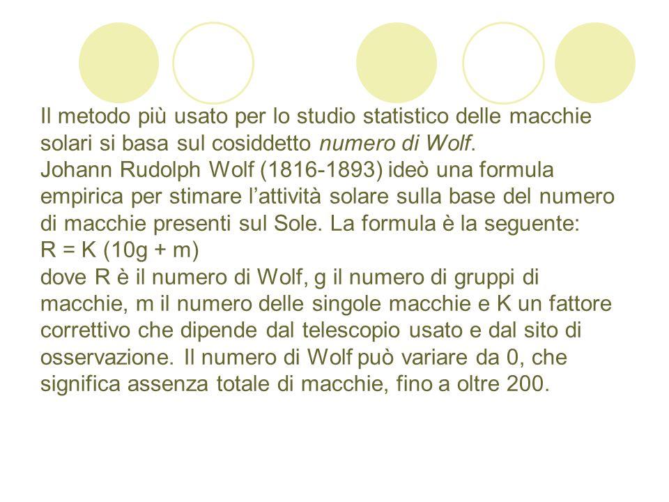Il metodo più usato per lo studio statistico delle macchie solari si basa sul cosiddetto numero di Wolf. Johann Rudolph Wolf (1816-1893) ideò una form