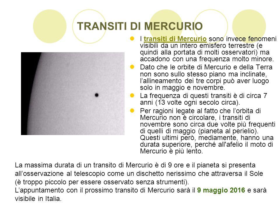 TRANSITI DI MERCURIO I transiti di Mercurio sono invece fenomeni visibili da un intero emisfero terrestre (e quindi alla portata di molti osservatori)