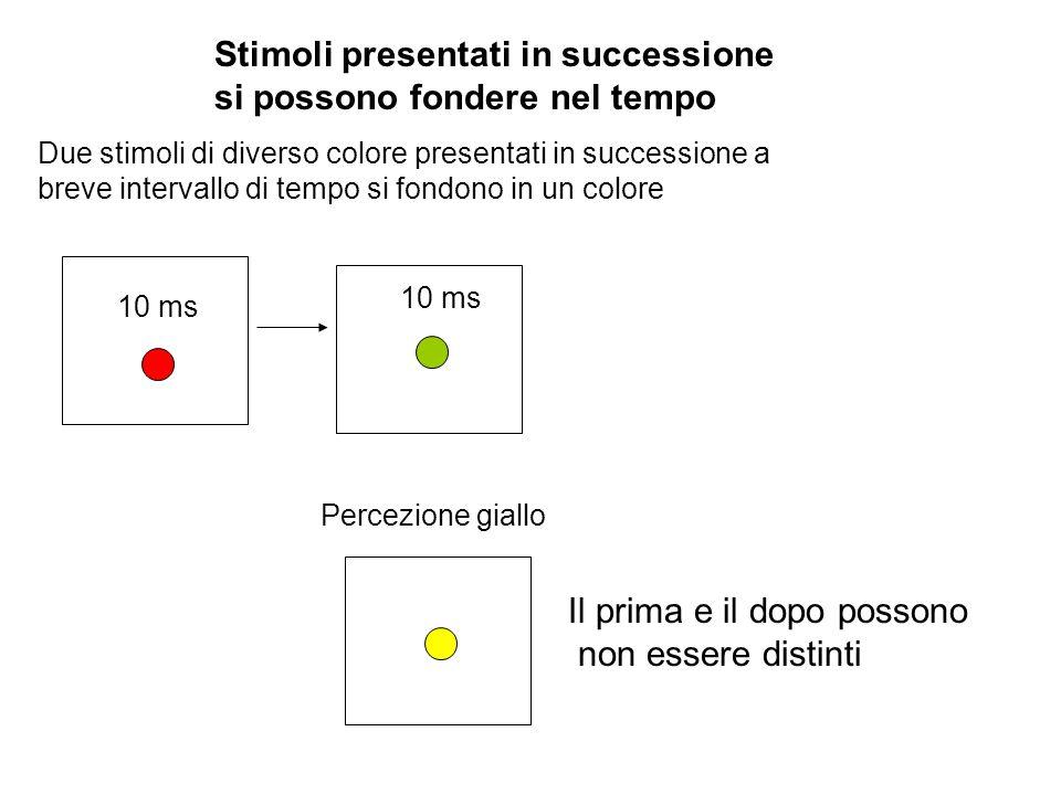 Stimoli presentati in successione si possono fondere nel tempo Due stimoli di diverso colore presentati in successione a breve intervallo di tempo si