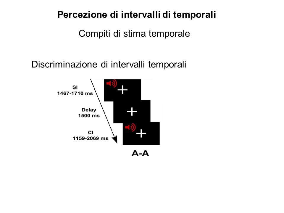 Percezione di intervalli di temporali Discriminazione di intervalli temporali Compiti di stima temporale