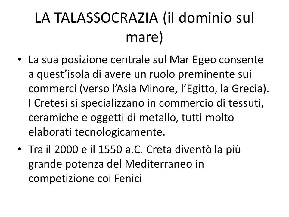 LA TALASSOCRAZIA (il dominio sul mare) La sua posizione centrale sul Mar Egeo consente a quest'isola di avere un ruolo preminente sui commerci (verso l'Asia Minore, l'Egitto, la Grecia).