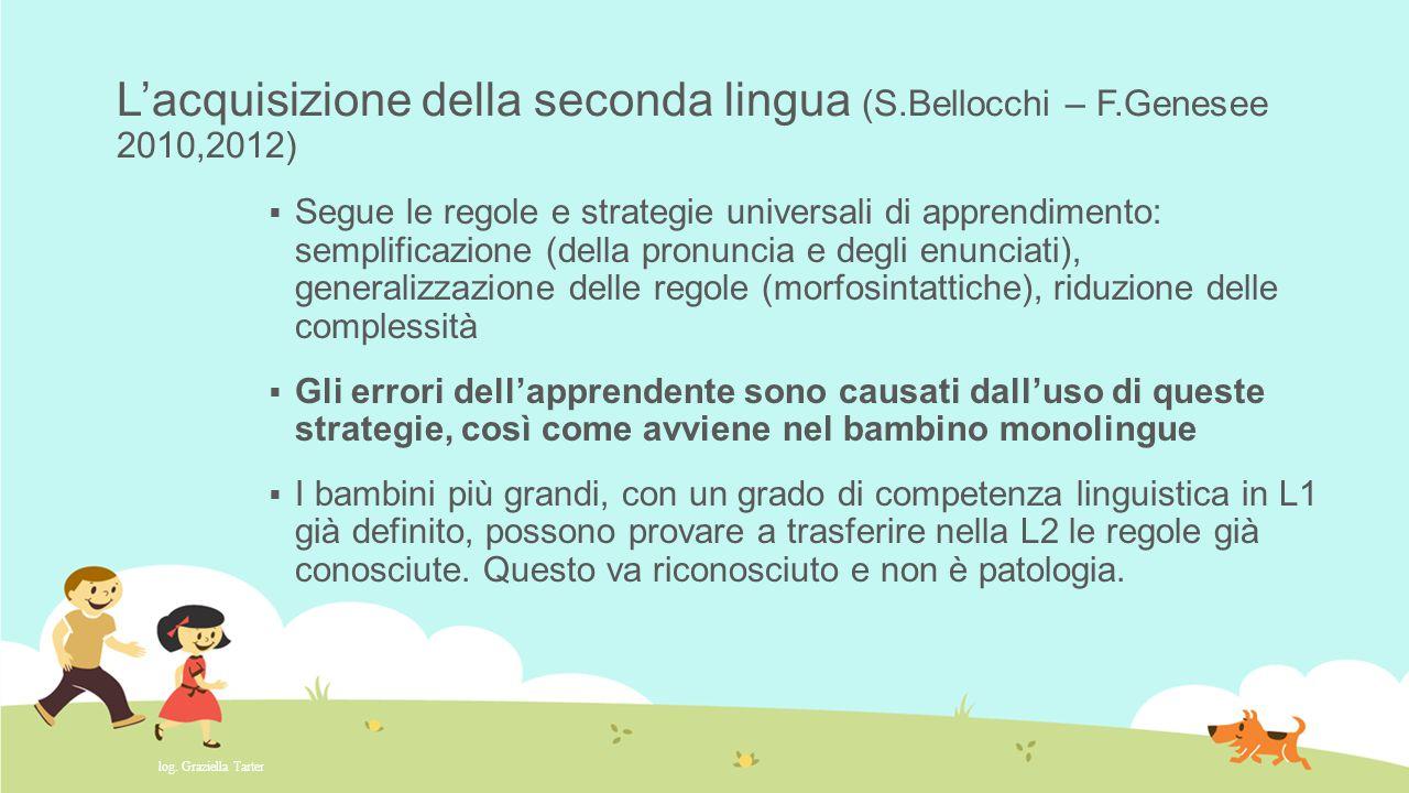 L'acquisizione della seconda lingua (S.Bellocchi – F.Genesee 2010,2012)  Segue le regole e strategie universali di apprendimento: semplificazione (de