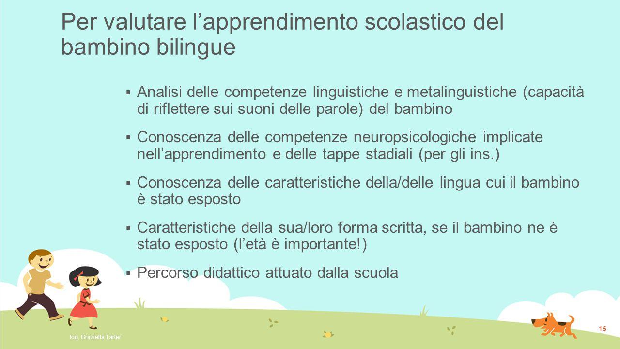 15 Per valutare l'apprendimento scolastico del bambino bilingue  Analisi delle competenze linguistiche e metalinguistiche (capacità di riflettere sui