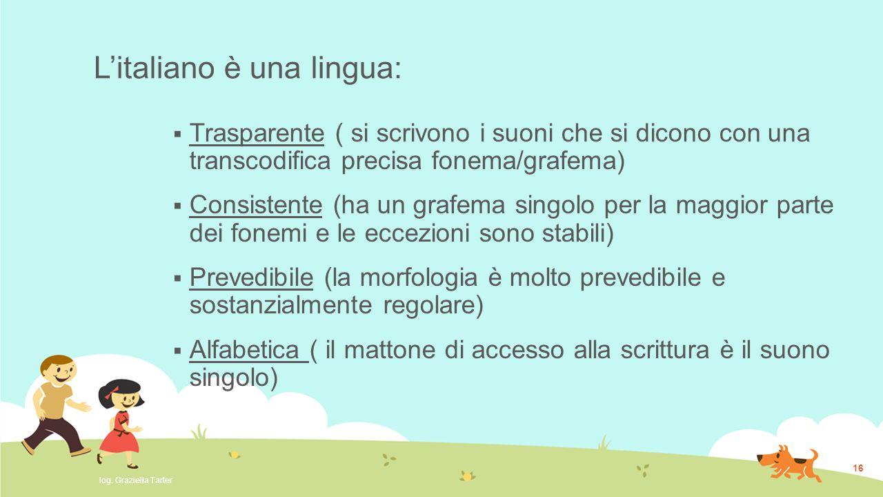 L'italiano è una lingua:  Trasparente ( si scrivono i suoni che si dicono con una transcodifica precisa fonema/grafema)  Consistente (ha un grafema