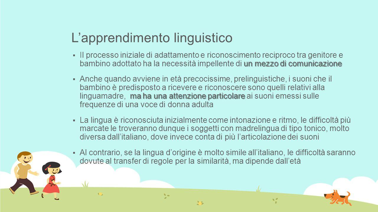 L'apprendimento linguistico un mezzo di comunicazione  Il processo iniziale di adattamento e riconoscimento reciproco tra genitore e bambino adottato