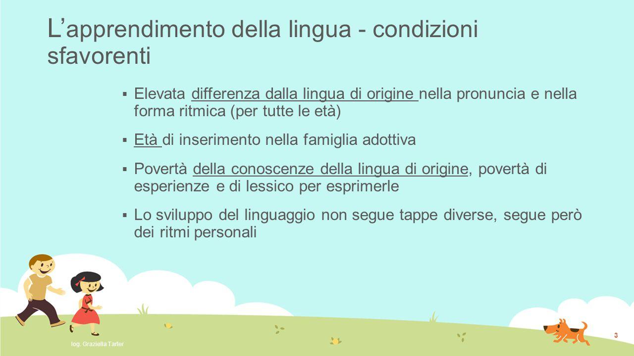 L' apprendimento della lingua - condizioni sfavorenti  Elevata differenza dalla lingua di origine nella pronuncia e nella forma ritmica (per tutte le
