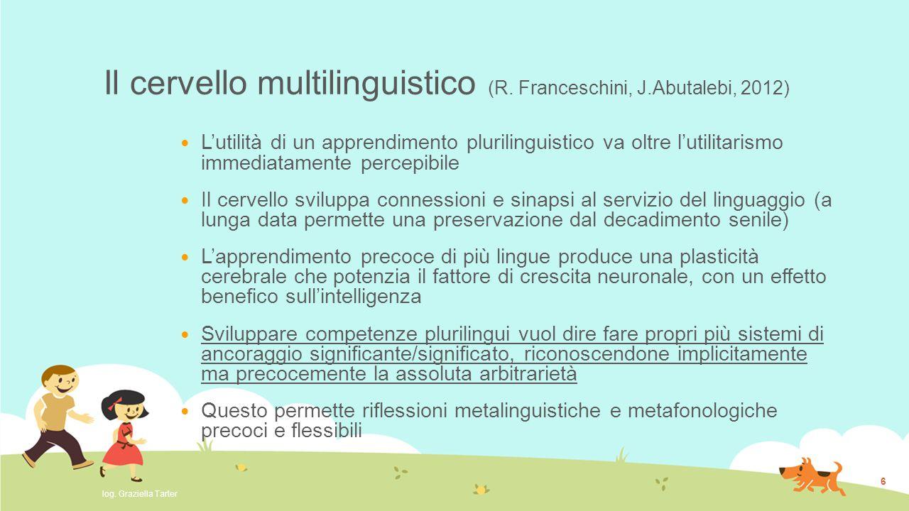 Il cervello multilinguistico (R. Franceschini, J.Abutalebi, 2012) L'utilità di un apprendimento plurilinguistico va oltre l'utilitarismo immediatament