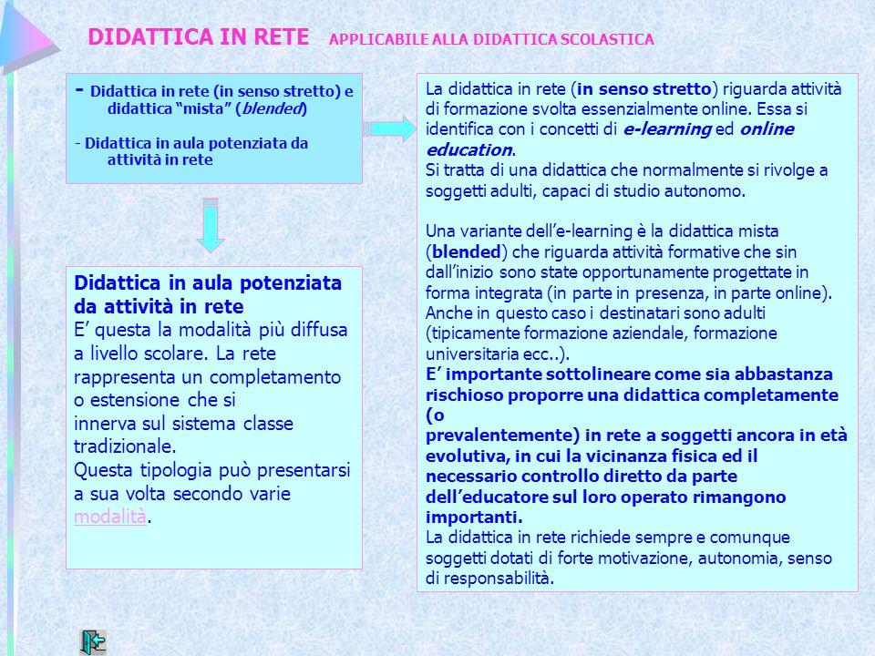 """DIDATTICA IN RETE APPLICABILE ALLA DIDATTICA SCOLASTICA - Didattica in rete (in senso stretto) e didattica """"mista"""" (blended) - Didattica in aula poten"""