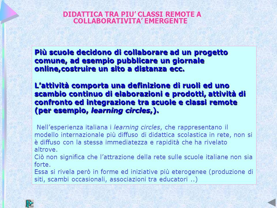 DIDATTICA TRA PIU' CLASSI REMOTE Si tratta di situazioni più frequenti nel contesto italiano, di attività didattica che si evolve secondo modalità estemporanee, a partire da spunti occasionali.
