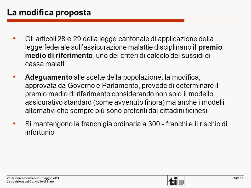 Votazioni cantonali del 18 maggio 2014 La posizione del Consiglio di Stato pag. 13 La modifica proposta Gli articoli 28 e 29 della legge cantonale di
