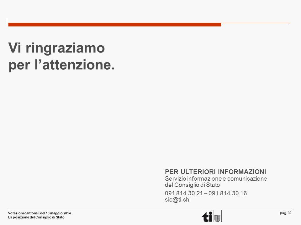 Votazioni cantonali del 18 maggio 2014 La posizione del Consiglio di Stato pag. 32 PER ULTERIORI INFORMAZIONI Servizio informazione e comunicazione de