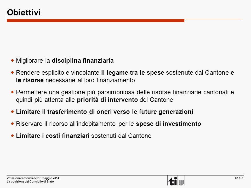 Votazioni cantonali del 18 maggio 2014 La posizione del Consiglio di Stato pag. 5 Obiettivi  Migliorare la disciplina finanziaria  Rendere esplicito