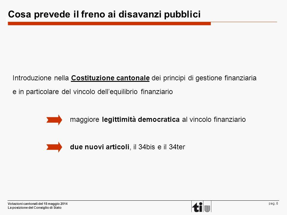 Votazioni cantonali del 18 maggio 2014 La posizione del Consiglio di Stato pag. 6 Cosa prevede il freno ai disavanzi pubblici Introduzione nella Costi