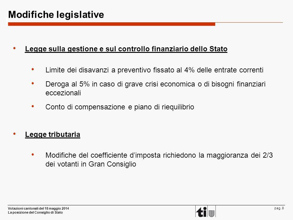 Votazioni cantonali del 18 maggio 2014 La posizione del Consiglio di Stato pag. 8 Modifiche legislative Legge sulla gestione e sul controllo finanziar