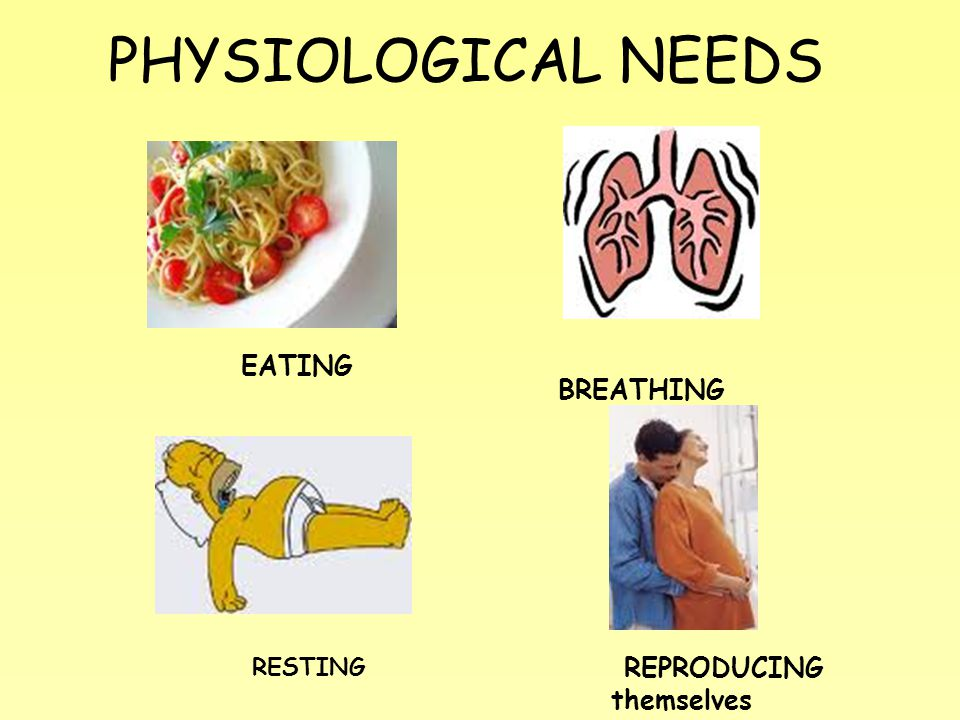 PHYSIOLOGICAL NEEDS EATING BREATHING RESTING REPRODUCING themselves