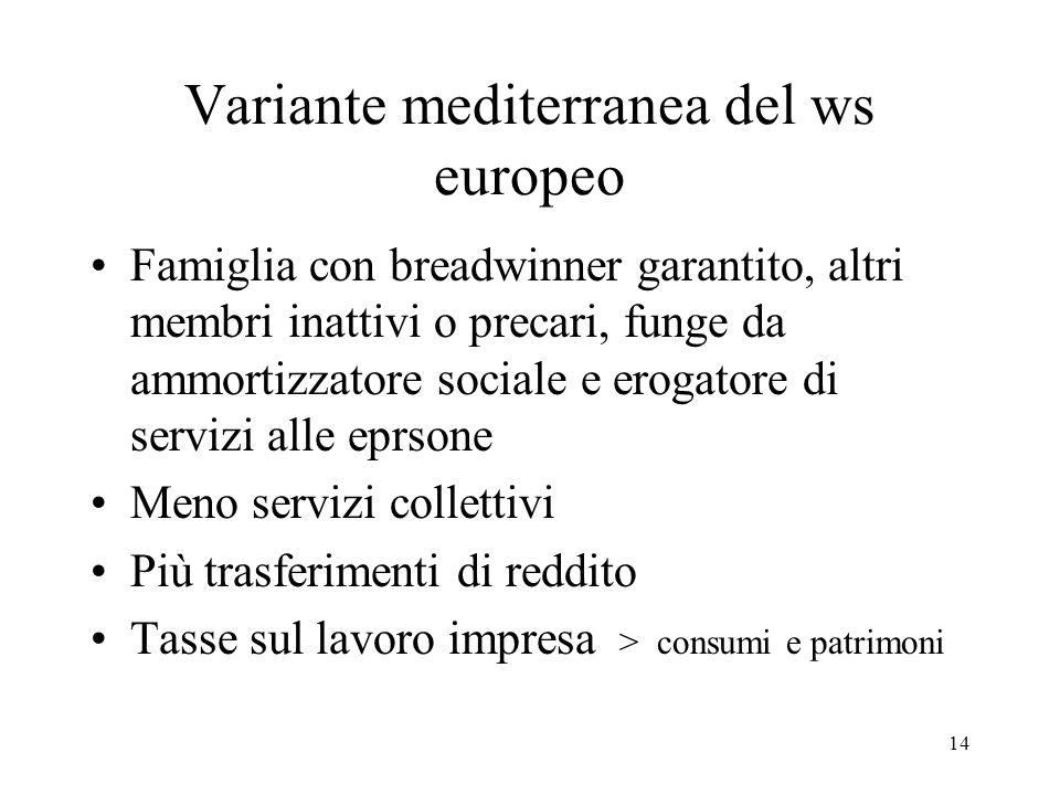 14 Variante mediterranea del ws europeo Famiglia con breadwinner garantito, altri membri inattivi o precari, funge da ammortizzatore sociale e erogato