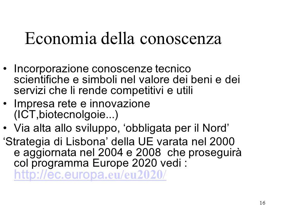 16 Economia della conoscenza Incorporazione conoscenze tecnico scientifiche e simboli nel valore dei beni e dei servizi che li rende competitivi e uti