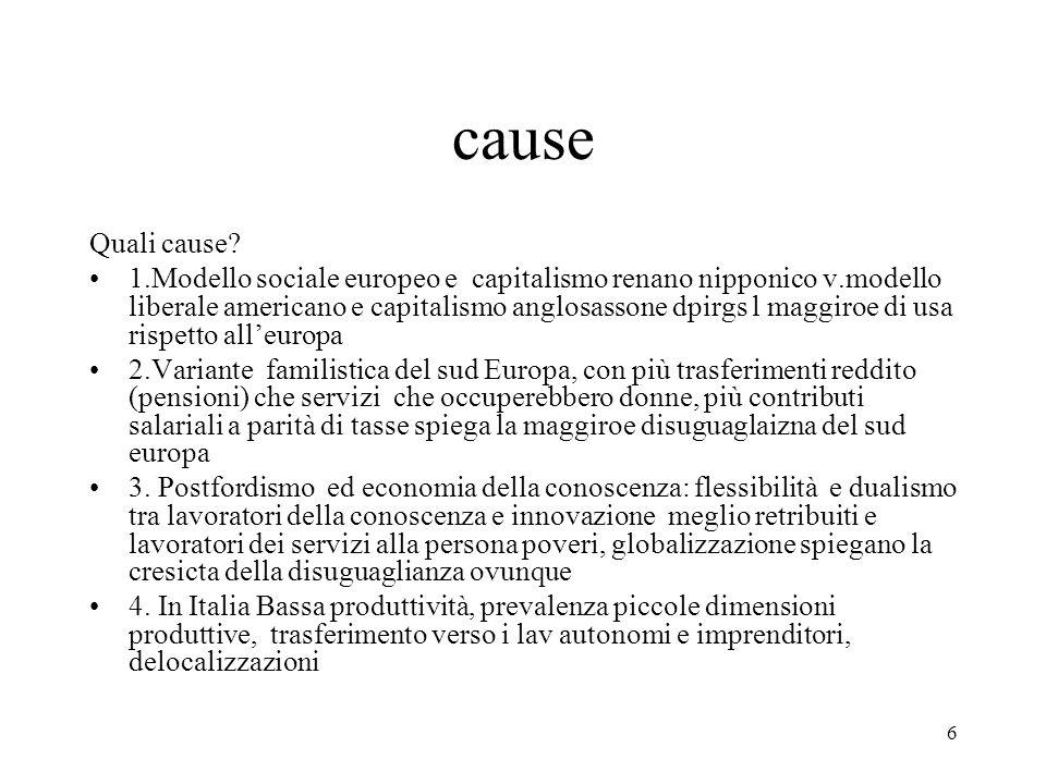 6 cause Quali cause? 1.Modello sociale europeo e capitalismo renano nipponico v.modello liberale americano e capitalismo anglosassone dpirgs l maggiro