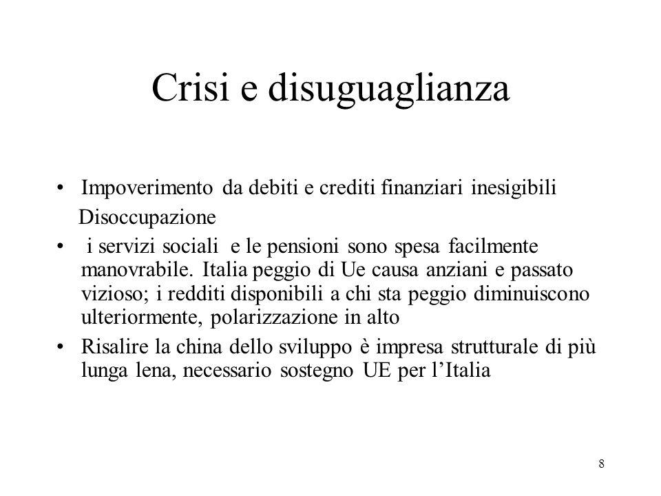 8 Crisi e disuguaglianza Impoverimento da debiti e crediti finanziari inesigibili Disoccupazione i servizi sociali e le pensioni sono spesa facilmente