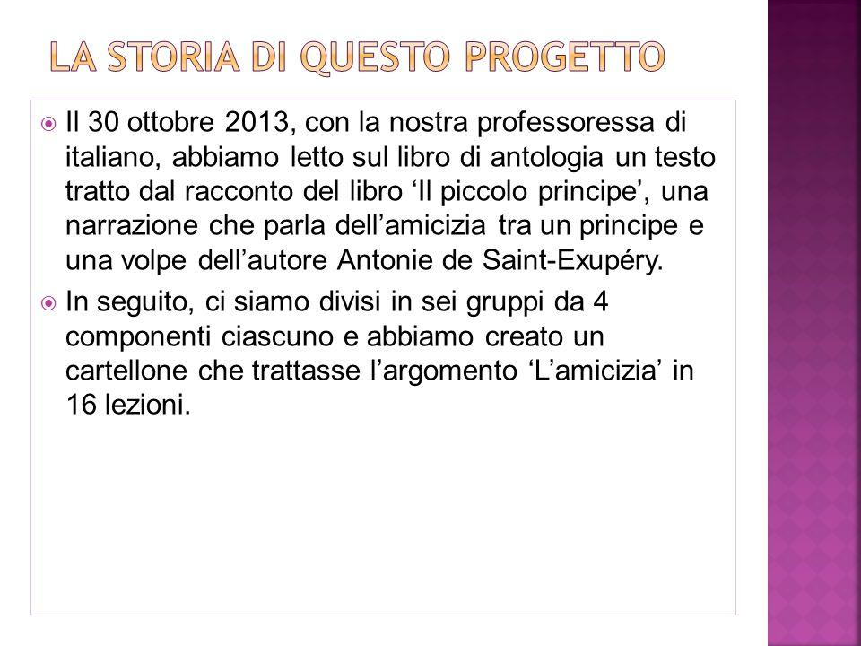  Il 30 ottobre 2013, con la nostra professoressa di italiano, abbiamo letto sul libro di antologia un testo tratto dal racconto del libro 'Il piccolo