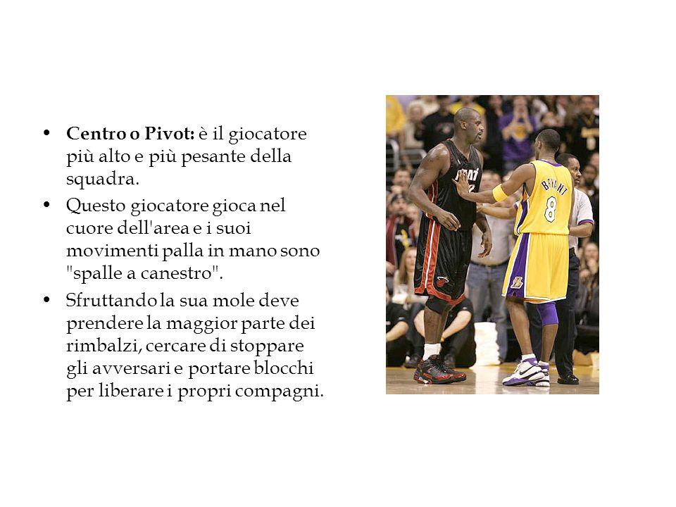 Centro o Pivot: è il giocatore più alto e più pesante della squadra. Questo giocatore gioca nel cuore dell'area e i suoi movimenti palla in mano sono