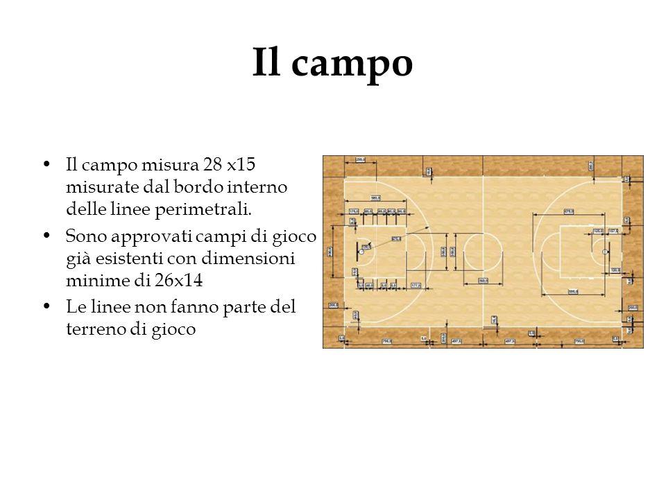 Il campo Il campo misura 28 x15 misurate dal bordo interno delle linee perimetrali. Sono approvati campi di gioco già esistenti con dimensioni minime
