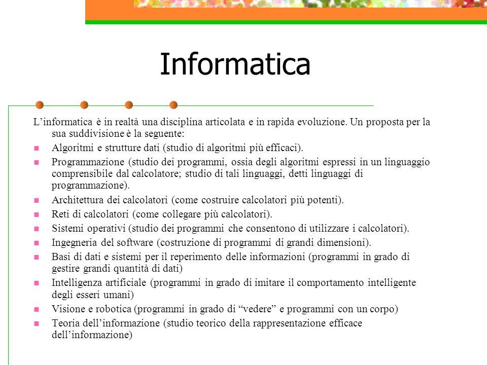 Informatica L'informatica è in realtà una disciplina articolata e in rapida evoluzione.