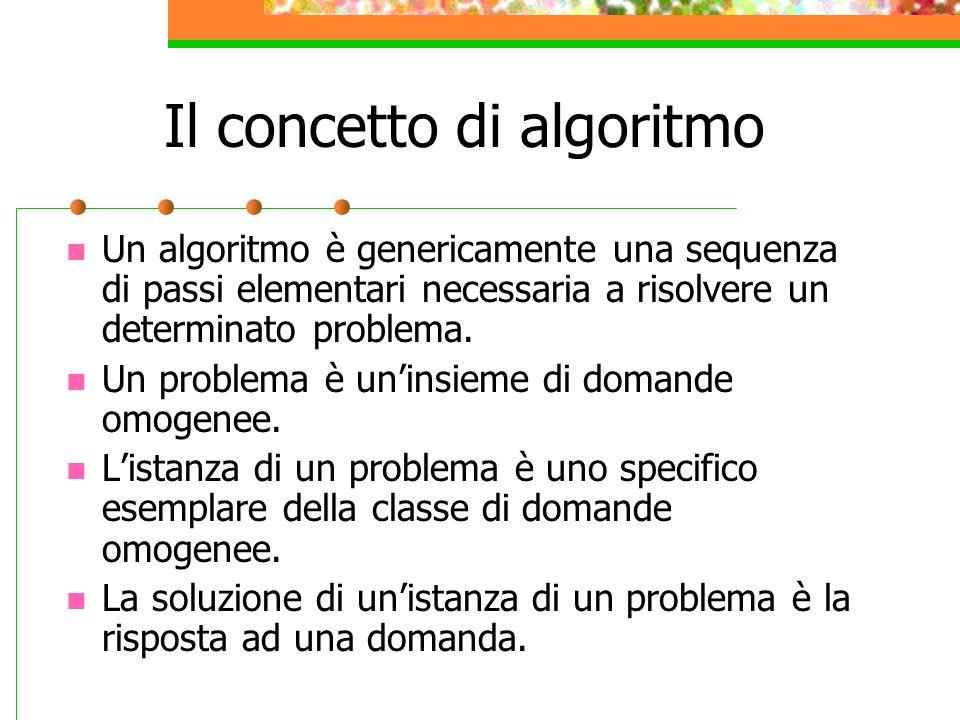 Il concetto di algoritmo Un algoritmo è genericamente una sequenza di passi elementari necessaria a risolvere un determinato problema. Un problema è u