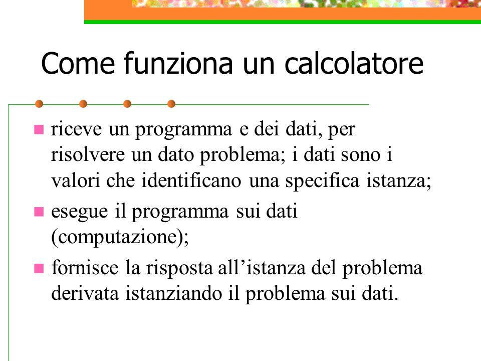 Come funziona un calcolatore riceve un programma e dei dati, per risolvere un dato problema; i dati sono i valori che identificano una specifica istan