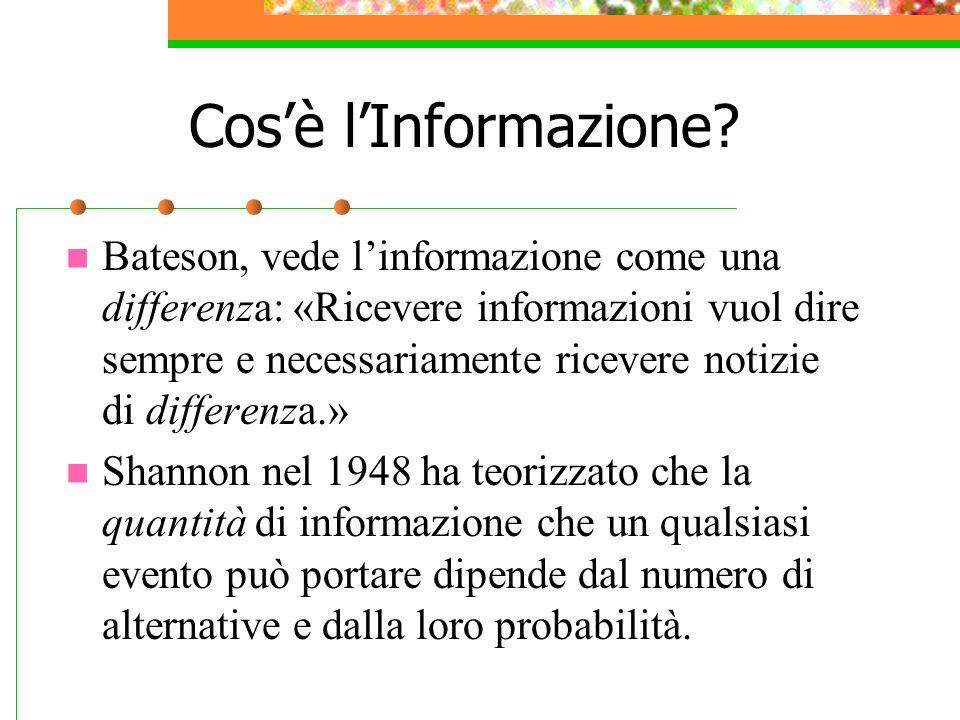 Cos'è l'Informazione? Bateson, vede l'informazione come una differenza: «Ricevere informazioni vuol dire sempre e necessariamente ricevere notizie di