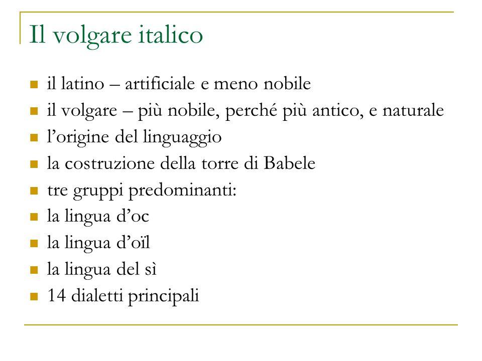 Le particolarità locali Antonio da Ferrara (1315-1370) una grammatica vernacolare le more quando è ben morate – sono ben mature tratti fonetici della zona d'origine valise – valigie zoiosi – gioiosi Francesco di Vannozzo (1340-1390) -azza (per -accia) in cazza -esse (per -este) in saresse zuoba – giovedì Senuccio del Bene (fine del Duecento – 1349) Fazio degli Uberti (1301-67) il fiorentino letterario o il toscano poetico