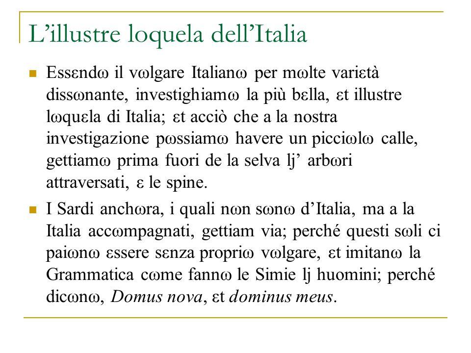 Il dialetto toscano il siciliano in poesia una lingua municipale Cino da Pistoia, Guido Cavalcanti, e Dante Bologna, centro storico del notariato Dωpω questi vegniamω a li Tωscani, i quali per la lωrω pazia insensati, pare, che arrωgantemente s'attribuiscanω il titωlω sωl vulgare Illustre; εt in questω nωn sωlamente la ωpiniωne de i plebεi impazisse, ma ritruovω mωlti huomini famωςi haverla havuta.