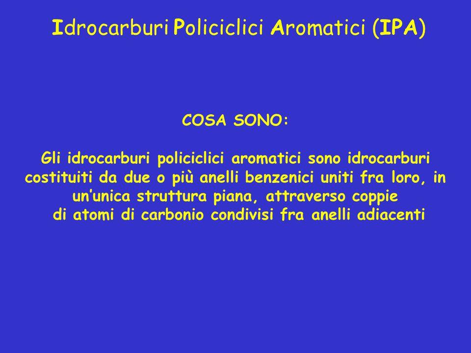 Idrocarburi Policiclici Aromatici (IPA) COSA SONO: Gli idrocarburi policiclici aromatici sono idrocarburi costituiti da due o più anelli benzenici uni