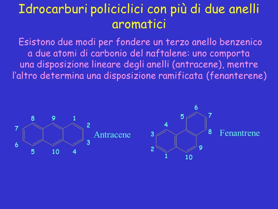 Idrocarburi policiclici con più di due anelli aromatici Antracene 1 2 3 4105 6 7 89 Fenantrene 1 2 3 4 5 6 7 8 9 10 Esistono due modi per fondere un t