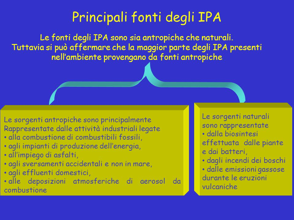 Principali fonti degli IPA Le fonti degli IPA sono sia antropiche che naturali. Tuttavia si può affermare che la maggior parte degli IPA presenti nell