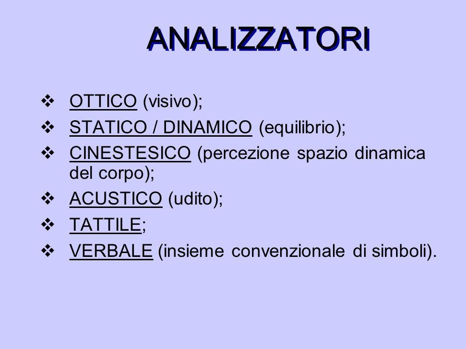 ANALIZZATORI  OTTICO (visivo);  STATICO / DINAMICO (equilibrio);  CINESTESICO (percezione spazio dinamica del corpo);  ACUSTICO (udito);  TATTILE;  VERBALE (insieme convenzionale di simboli).