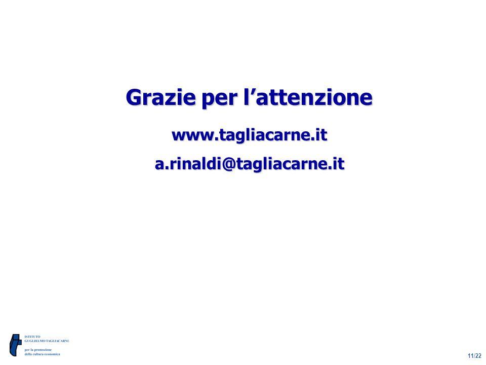 11/22 Grazie per l'attenzione www.tagliacarne.ita.rinaldi@tagliacarne.it