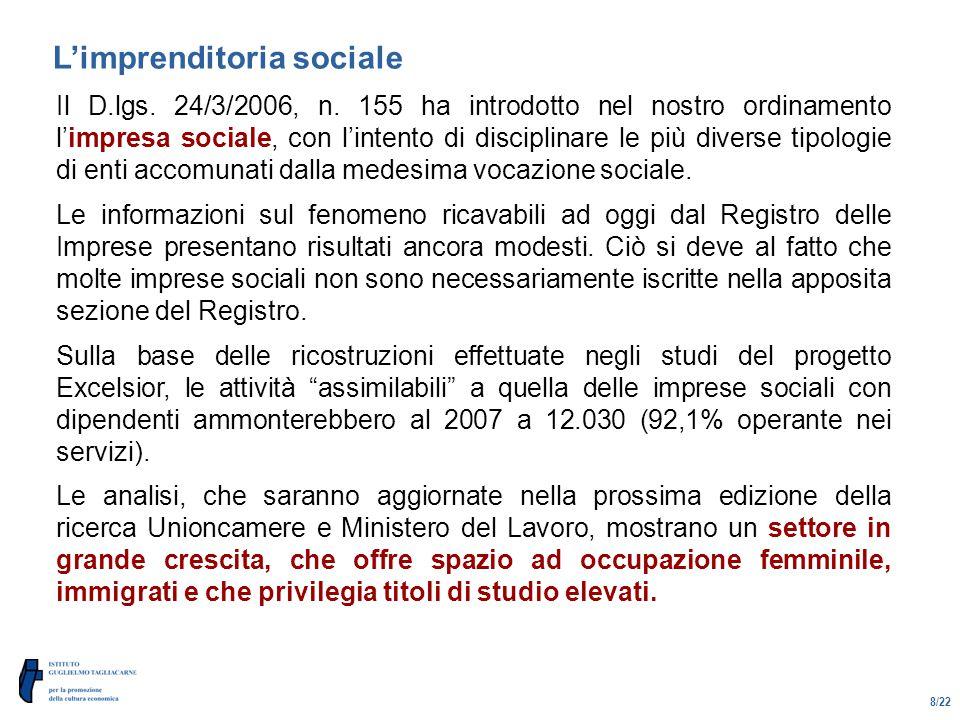 8/22 L'imprenditoria sociale Il D.lgs. 24/3/2006, n.