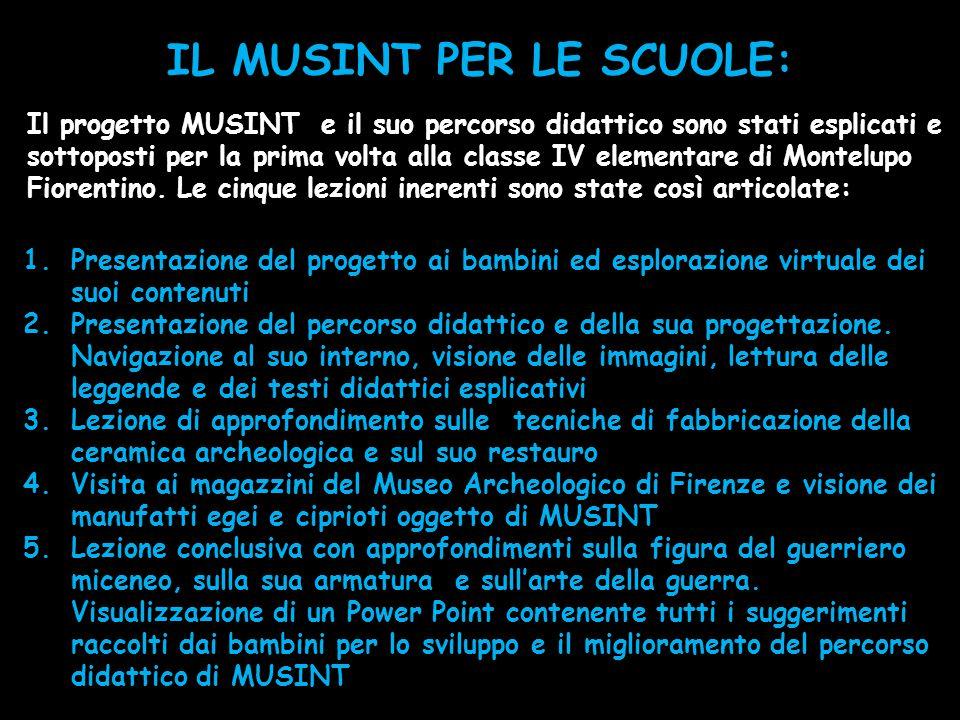 IL MUSINT PER LE SCUOLE: Il progetto MUSINT e il suo percorso didattico sono stati esplicati e sottoposti per la prima volta alla classe IV elementare di Montelupo Fiorentino.