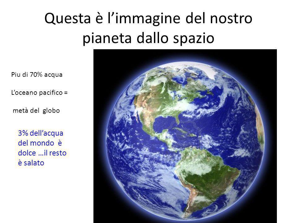 Questa è l'immagine del nostro pianeta dallo spazio Piu di 70% acqua L'oceano pacifico = metà del globo 3% dell'acqua del mondo è dolce …il resto è salato