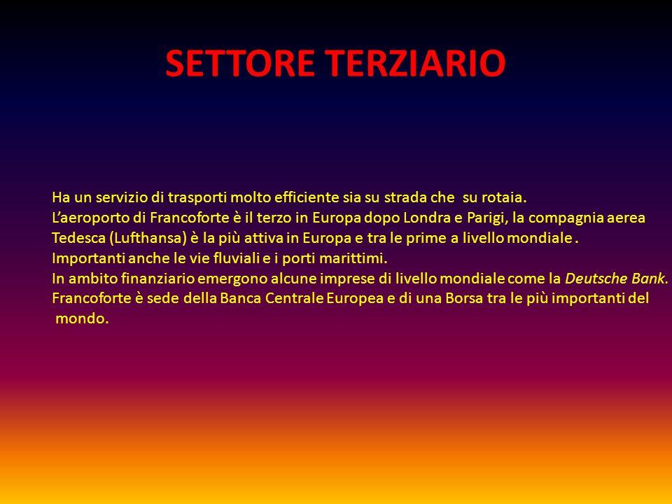 SETTORE TERZIARIO Ha un servizio di trasporti molto efficiente sia su strada che su rotaia.