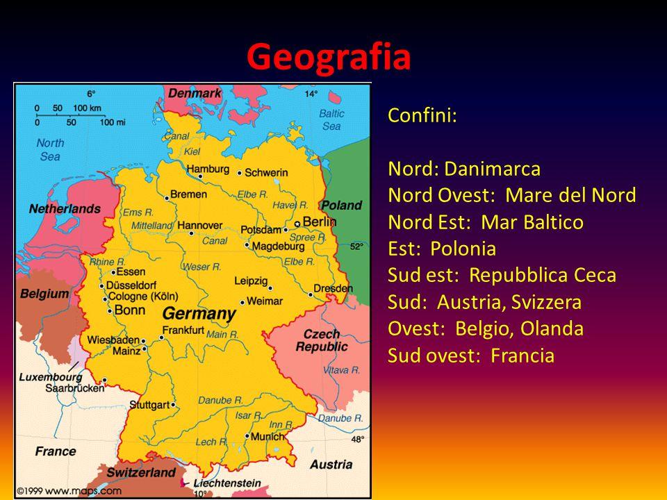 Geografia Confini: Nord: Danimarca Nord Ovest: Mare del Nord Nord Est: Mar Baltico Est: Polonia Sud est: Repubblica Ceca Sud: Austria, Svizzera Ovest: Belgio, Olanda Sud ovest: Francia