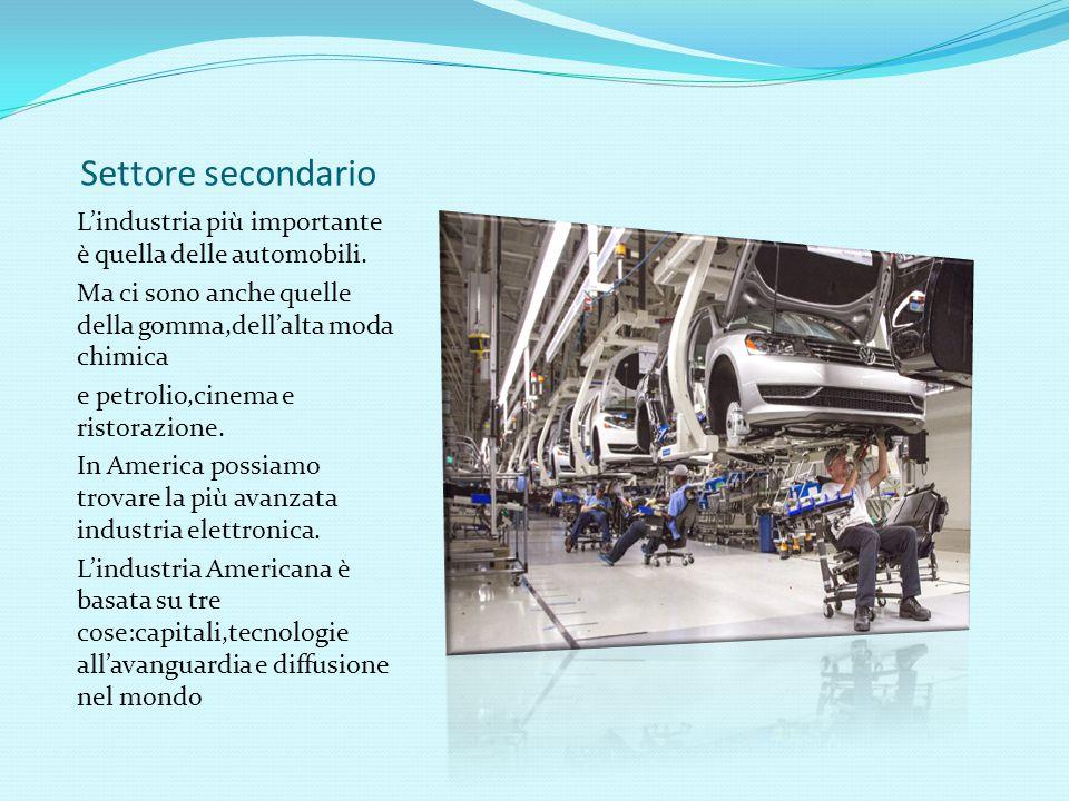 Settore secondario L'industria più importante è quella delle automobili. Ma ci sono anche quelle della gomma,dell'alta moda chimica e petrolio,cinema