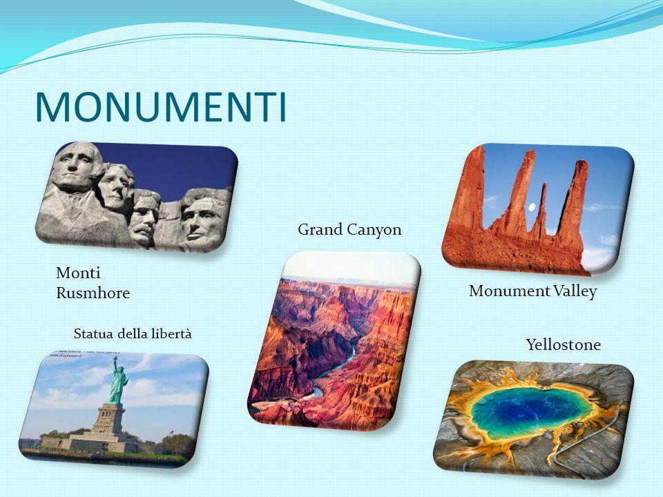 MONUMENTI Monti Rusmhore Grand Canyon Monument Valley Yellostone Statua della libertà