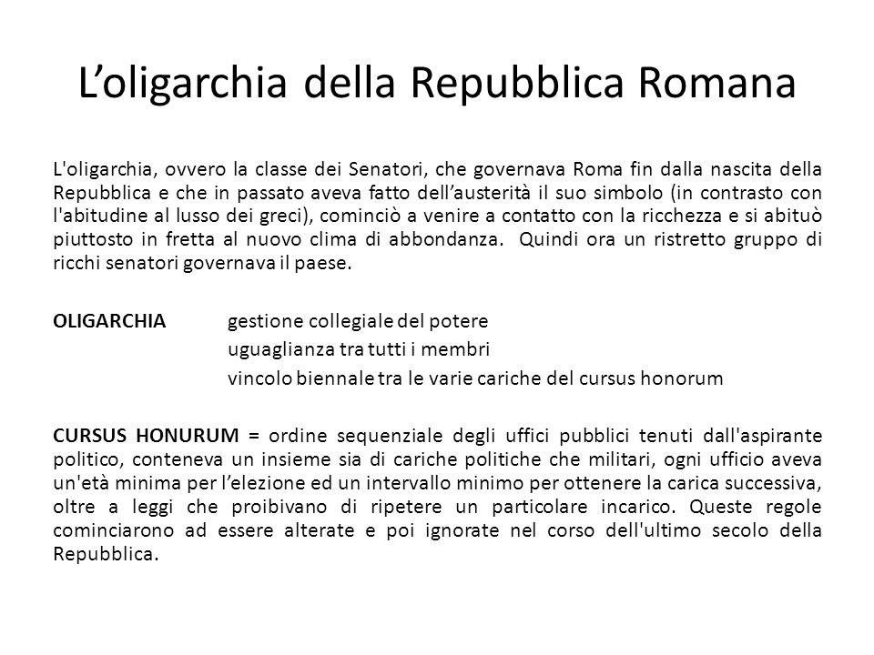 L'oligarchia della Repubblica Romana L'oligarchia, ovvero la classe dei Senatori, che governava Roma fin dalla nascita della Repubblica e che in passa