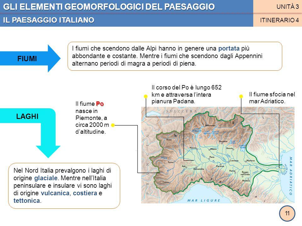 GLI ELEMENTI GEOMORFOLOGICI DEL PAESAGGIO IL PAESAGGIO ITALIANO UNITÀ 3 ITINERARIO 4 11 FIUMI I fiumi che scendono dalle Alpi hanno in genere una port